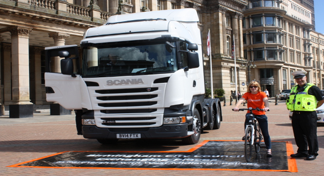 HGV cab outside Birmingham Town Hall
