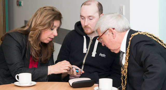 Luke Flavell (centre) with Jo Plumb (left), QEHB Head of Research and Development Operations, and Lord Mayor of Birmingham, Councillor Ray Hassall